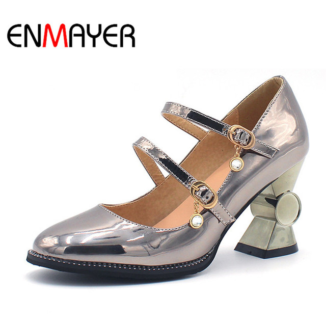 44cba963717a ENMAYER High Heels Square Toe Lace-Up Spring Autumn Pink Gold Silver Party  Shoes Classic Basic Cross Tied Polished Cute Shoes