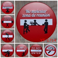 ROUND TIN SIGN RED WARNING LABEL Painting IRON Wall Sticker Metal Tin Sign Garage Wall Decor
