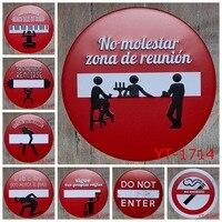 ROUND TIN SIGN RED WARNING LABEL Painting IRON Wall Sticker Metal Tin Sign Garage Wall Decor