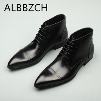 New genuine leather ankle boots men pointed toe lace work boots mens quality business office dress boots wedding shoes size US10