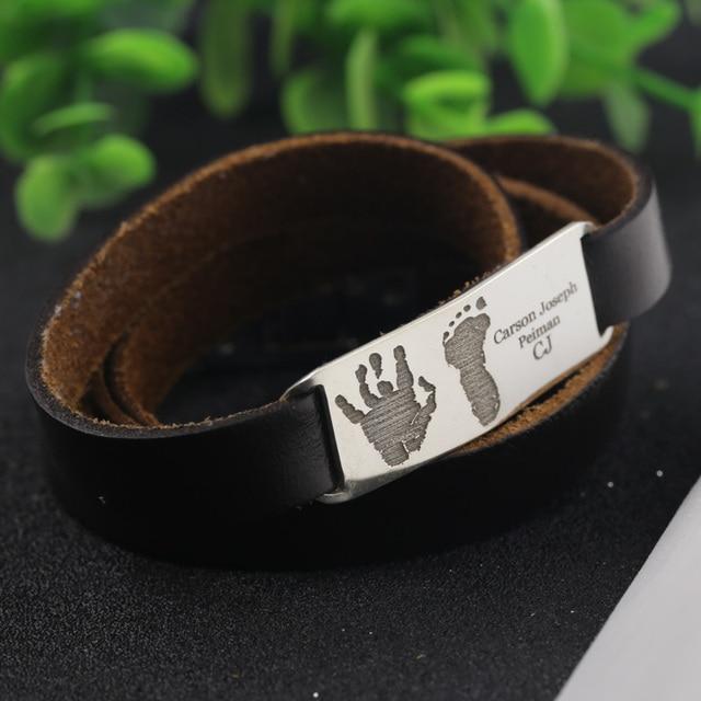 Hot Silver Jewelry Handprint Feetprint Name Bracelet Men Women