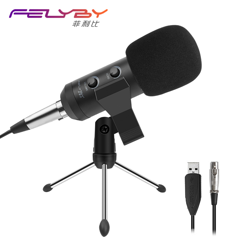 FELYBY new adjustable bm 900 USB microphone for computer recording & professional condenser microphones video room karaoke heat live broadcast sound card professional bm 700 condenser mic with webcam package karaoke microphone