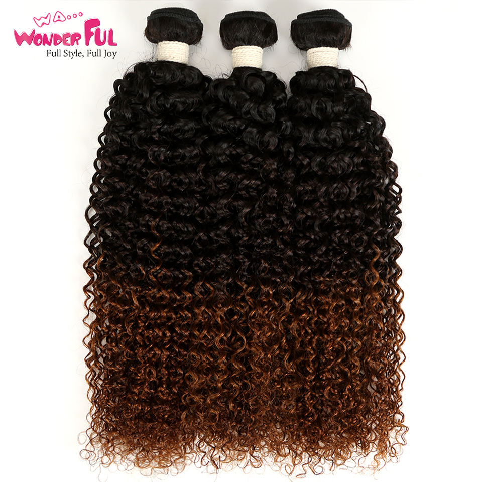 WaWonderful 1/3/4Pcs Ombre Brazilian Kinky Curly Hair Bundles Weave Human Hair Extensions Brown Non Remy Ombre Hair Bundles