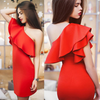 BEFORW Sexy Women Dress Dresses Sexy Shoulder Flouncing Package Hip Slim Solid Color Fashion Sexy Casual