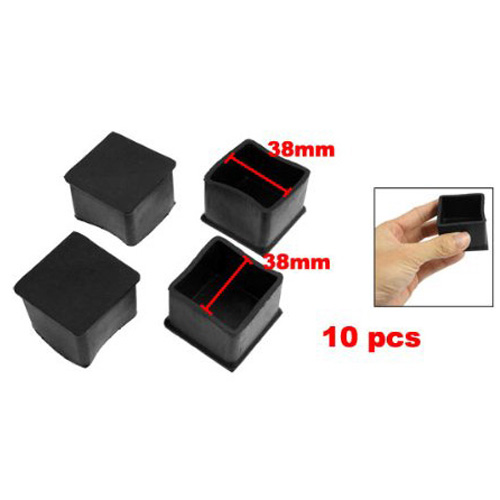 Boutique 10 Pcs Black Rubber Square 38mm x 38mm Table Chair Leg Protective Foot Cap