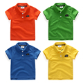 Boys child turn-down collar polo shirt child solid color short-sleeve girls boys shirts casual 2017 summer kids top