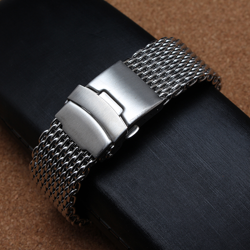 Shark Mesh Watchband Bracelets Special End safety Buckle 18mm 20mm 22mm 24mm Watch straps cant be adjusted length for men hours loose stainless steel silver shark mesh watchband bracelets special end safety buckle 18mm 20mm 22mm 24mm promotion men s straps