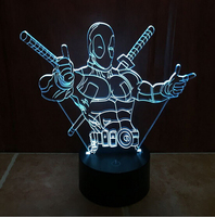 Hot NEW 7color Changing 3D Bulbing Light Deadpool 2 Avengers Visual Illusion LED Lamp Creative Action