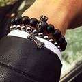Новый стиль Будда Браслет бренд мужской браслет натуральный камень бисер браслет 24 К позолоченные головой льва Корона Короля Браслет прелести