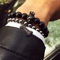 Nuevo estilo de Buda pulsera de piedra natural pulsera de perlas Brazalete de los hombres de la marca 24 k Chapado En oro de la Corona de la cabeza del león Rey encantos Del Brazalete