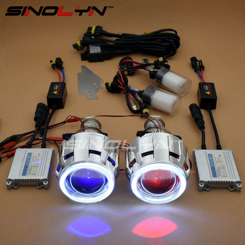 SINOLYN LED Angel Eyes Car Projector Lens HID Bixenon Headlight Devil Evil Eyes Headlamp Retrofit Kit For Car/Motorcycle Styling sinolyn upgrade 8 0 car led cob angel eyes halo bi xenon headlight lens projector drl devil demon eyes h1 h4 h7 kit retrofit diy