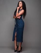 7fc8b98a8c 2018 Women Sleeveless Jeans Casual Slim blue Sexy Bodycon Club Long Denim  Dress