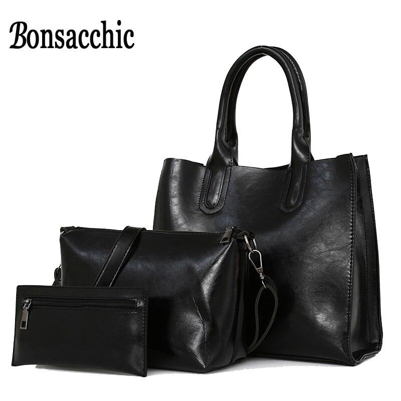 36d21d5ffe6 Bonsacchic 3pcs set Big Women Bag Sets Famous Designer Handbags Oil Wax Leather  Bags Woman