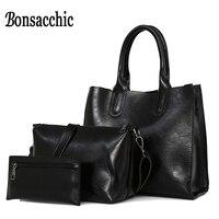 Bonsacchic 3pcs Set Big Women Bag Sets Famous Designer Handbags Oil Wax Leather Bags Woman Hand