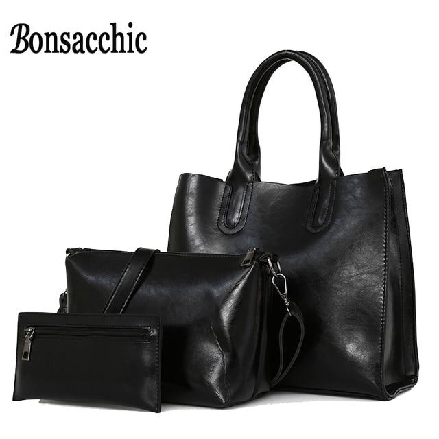 Bonsacchic 3pcs Set Women Bag Sets Famous Designer Handbags Oil Wax Leather Bags Woman