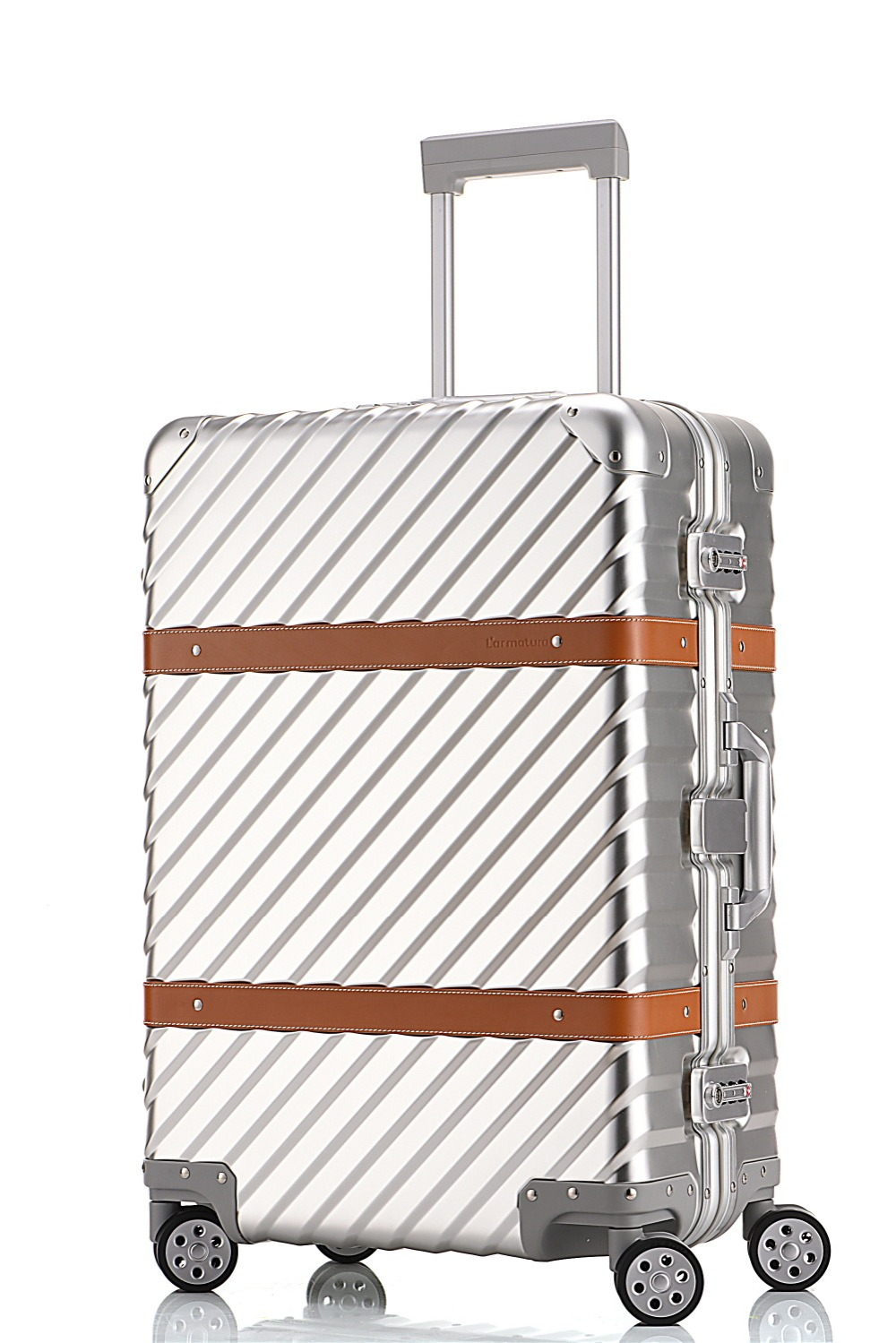 28 inches inclined stripe aluminium magnesium alloy rod box vintage suitcase metal box with leather luggage female board VERRY free shipping 100% aluminium luggage magnesium alloy luggage universal wheel lockbox metal box men and women on board boxes