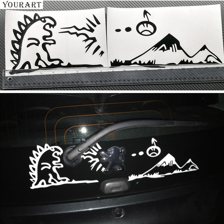 YOUART Lion Fighting med Monster Vinyl Car Stickers on Tail Emblem Sticker til PEUGEOT 307 308 206 208 Autocollant de Voiture