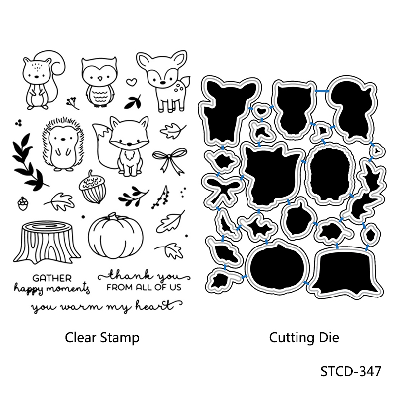 AZSG Various Cute Animal Transparent Silicone Seal / Stamp DIY clip album decoration transparent seal cutting mold set 11x16cm