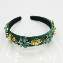 Fashion Show Decoration Baroque Luxury Jewelled Headbands with Green Fascinator Diamonds Hair Accessories Pearl Gold Band
