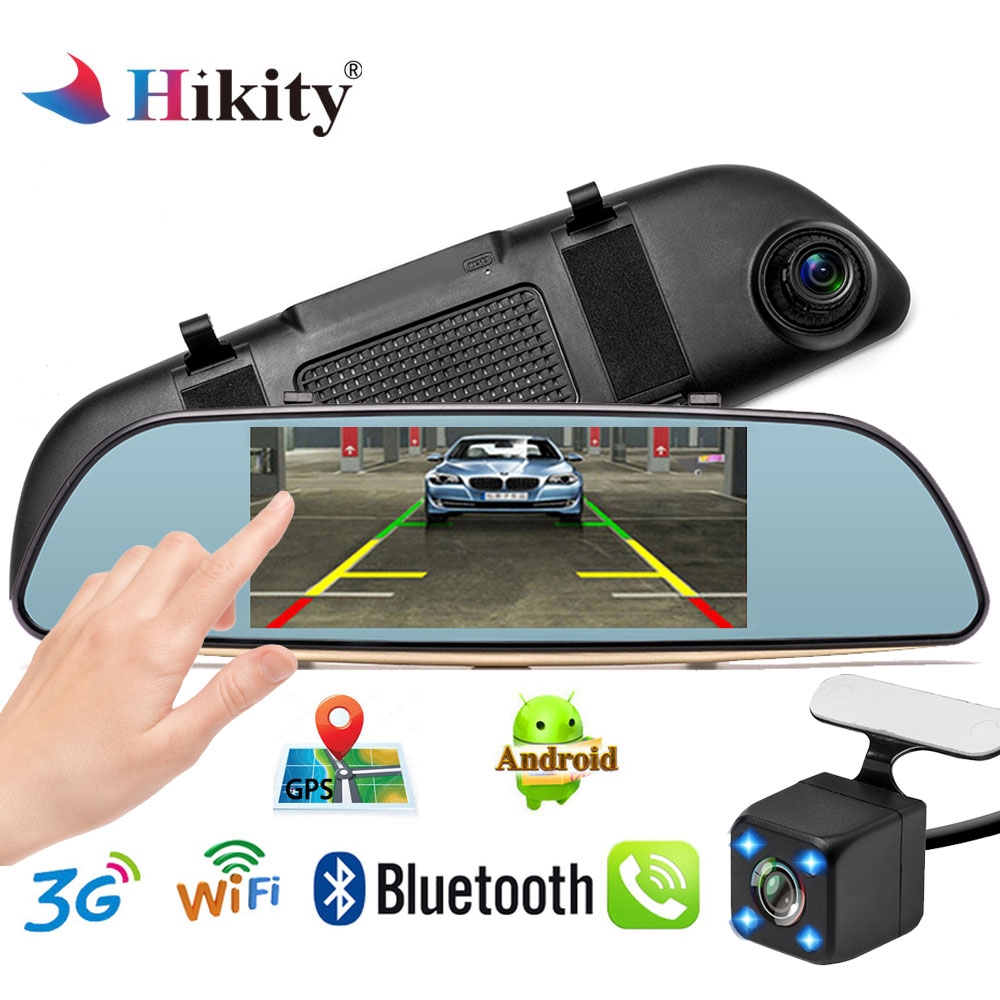 Hikity del precipitare della macchina fotografica dell'automobile dvr dual len posteriore specchietto retrovisore auto dashcam recorder registrator Full HD Android Monitor di Parcheggio Specchio