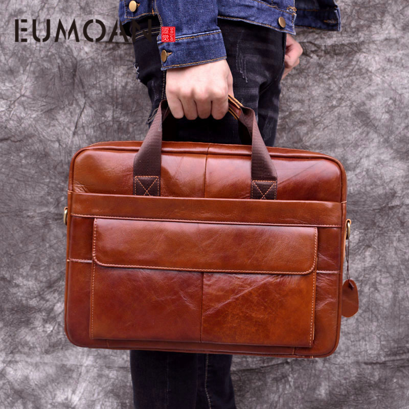 EUMOAN Genuine Leather Genuine Leather Laptop Bag Handbags Cowhide Men Crossbody Bag Men's Travel Brown Leather Briefcase