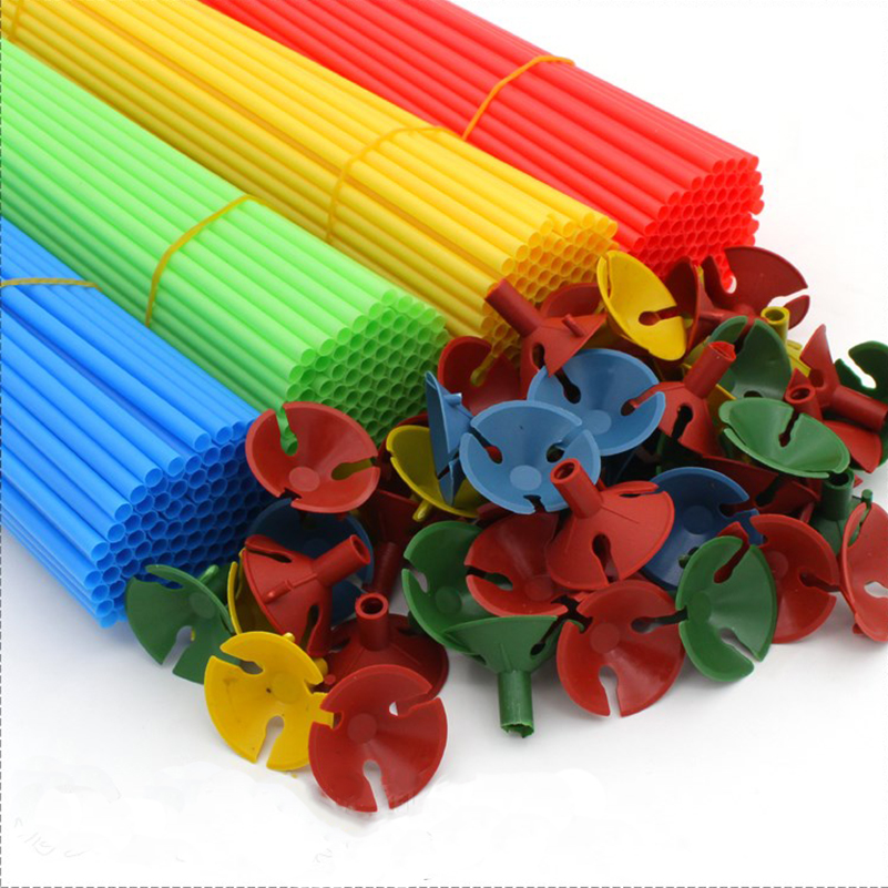 100Set/Lot Coloful Balloon Stick With PVC Rods To Support Balloon Holder Sticks Decoration Accessories For Anniversary Party