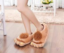Hiver pantoufles Hobbit grand pieds chaud non-glissement pantoufles belles chaussures Pleine Talon En Peluche festival cadeau partie 40-44