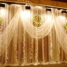 3x1/3x2/3x3 м Светодиодная сосулька, светодиодная занавеска, сказочный светильник, сказочный светильник, 300 светодиодный Рождественский светильник для свадьбы, дома, вечерние украшения