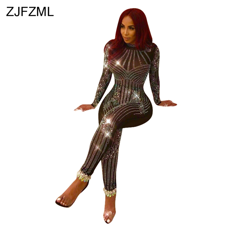 ZJFZML Mesh Patchwork Sexy Skinny Jumpsuit Shiny Rhinestone Black Full Sleeve Romper Elegant O-Neck Perspective Casual Overall
