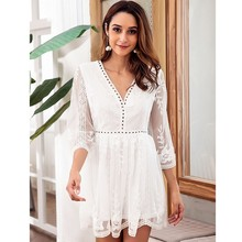 цена на MUXU Autumn Lace Embroidery Sexy Dress V Lead crochet white lace mesh streetwear short see through womens clothing free shiping