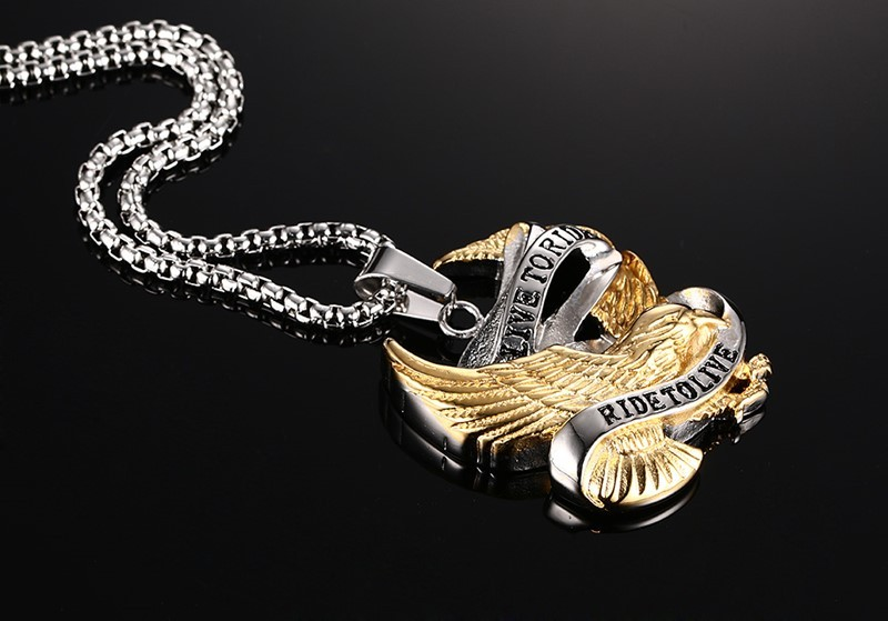 Stainless Steel Eagle Necklace Pendant in Gold And Silver 3