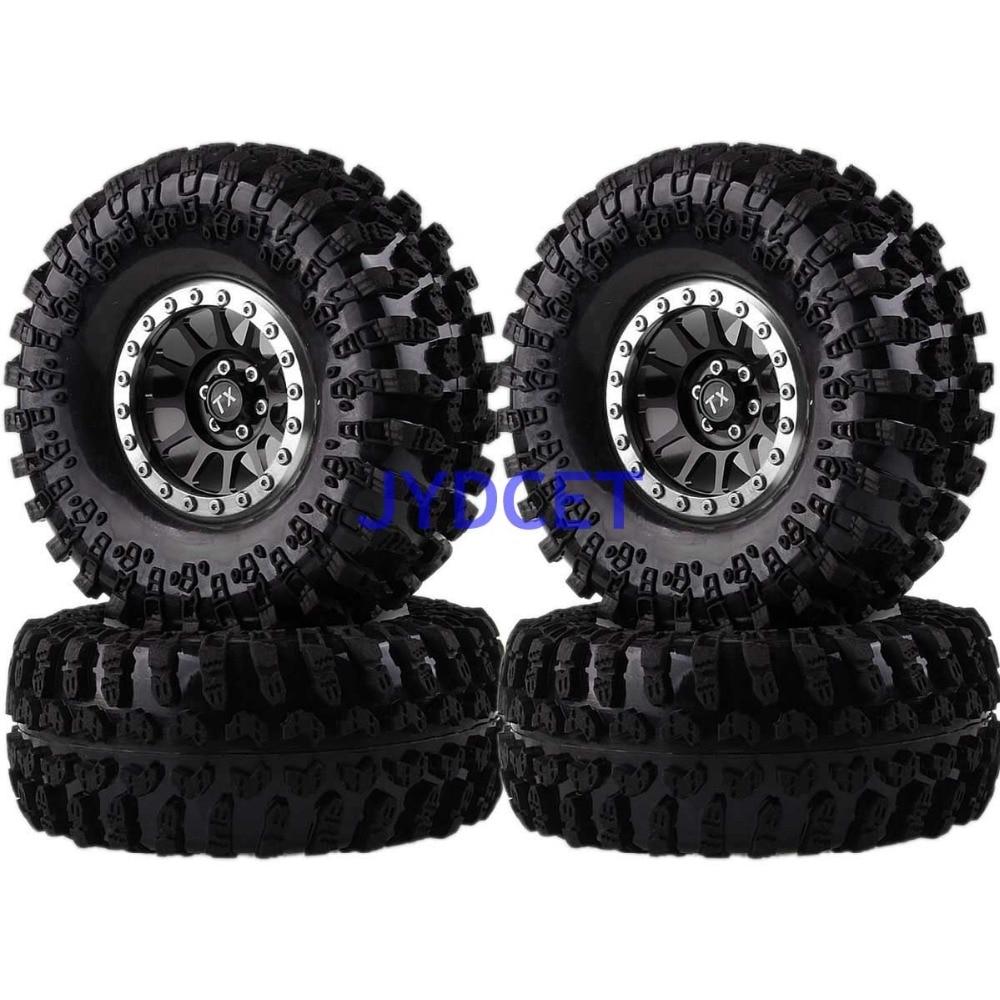 "2022-3021 Aluminum 12-Spokes Beadlock 2.2"" Wheel Rim & Super Swamper Rocks Tyre 125mm 4pcs For RC 1/10 Climbing Rock Crawler"
