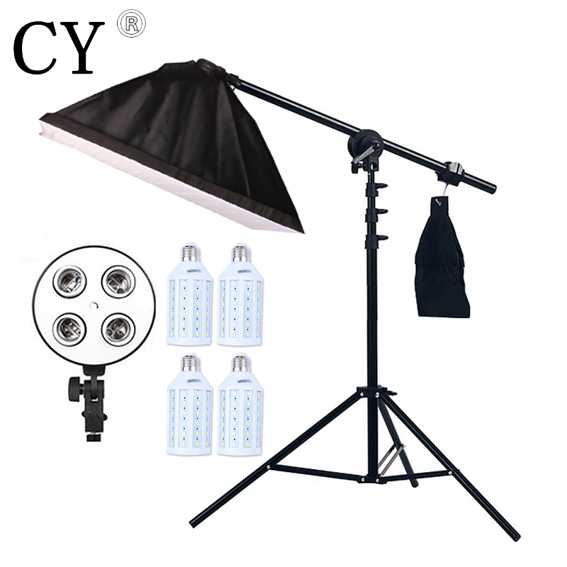 Inno 4pcs 20W LED Light Photo Studio Video Lighting Kit Light Stand*SoftBox With 4 * E27 lamp holder*Boom Arm 75-135cm Hairlight