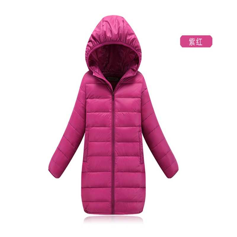 2019 winter long model Girl Jackets Kids solid color Children's Outerwear  baby Girls Coats Boys Light& thin duck down Jackets