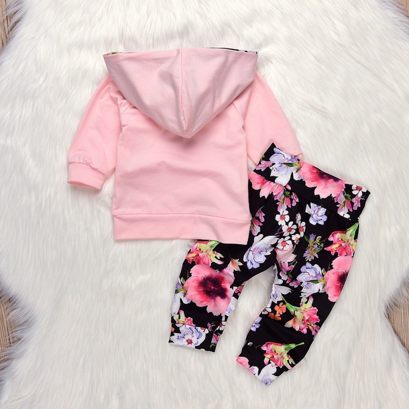 2018 Winter Baby Girls Clothes Printed Floral Girls Pant Sets Newborn Infant Girls Clothes Hooded Tops T-shirt+Floral Pants Set 1