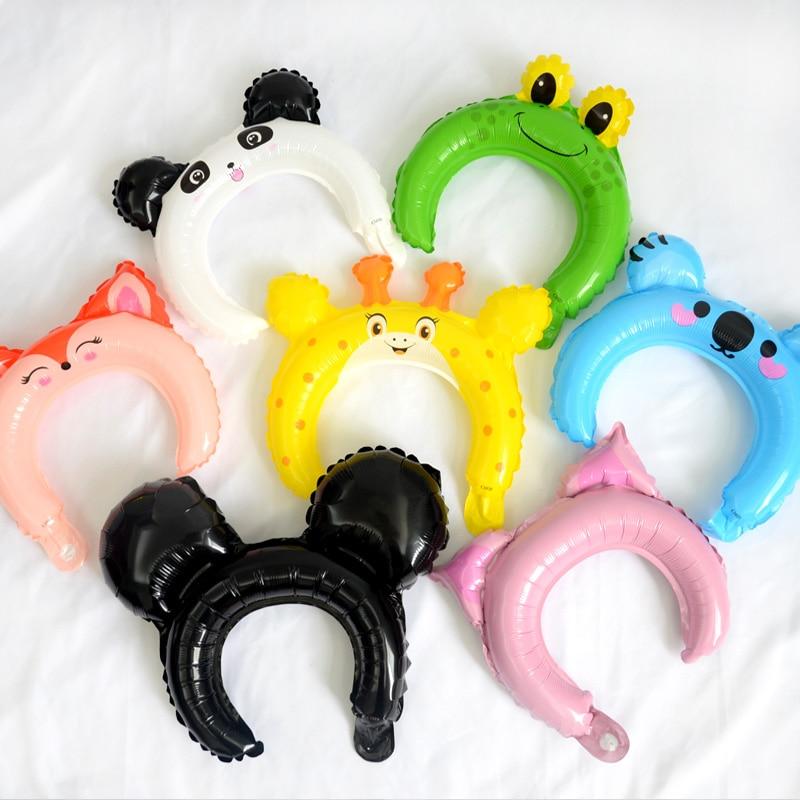 10pcs Cute Animal Headwear Headband Foil Balloon Mickey Minnie Rabbit Bear Baby Shower Happy Birthday Wedding Party Decoration