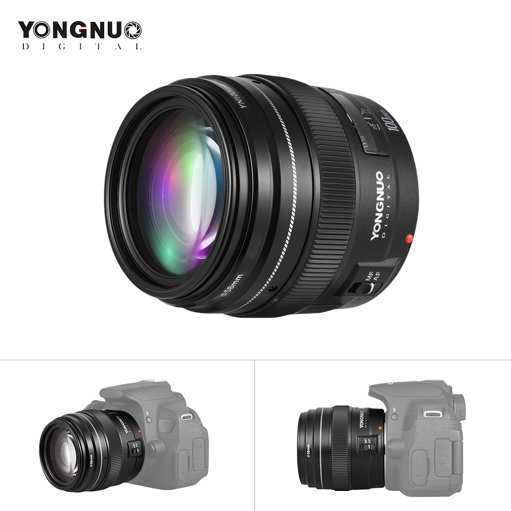 YONGNUO Medium Telephoto Prime Lens 100mm Fixed Focal Length Aperture F/2~F/22 for Canon EOS Rebel Camera Support AF MF Mode-in Camera Lens from Consumer Electronics    1