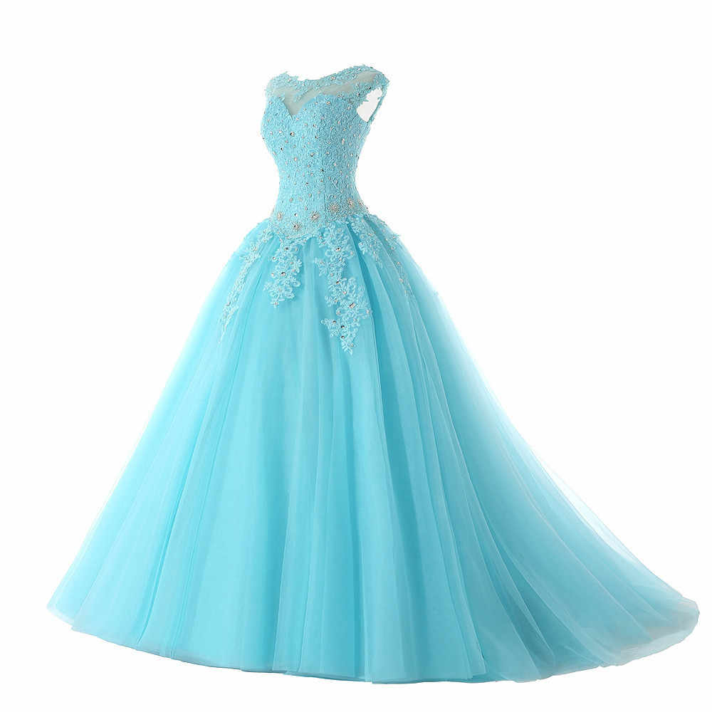 JaneVini 2019 элегантное Пышное бальное платье Тюль Длинное Пышное Платье с цельнокроеным коротким рукавом с аппликацией из бисера спинки сладкий 16 бирюзовые платья