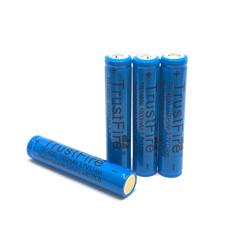 TrustFire TR14650 14650 3.7V 1600mAh Rechargeable Battery Lithium Batteries With Protected PCB Power Source For LED Flashlight