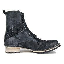 Handmade customized retro wild men denim boots genuine leather  Wooden heel Pleated Leather western cowboy