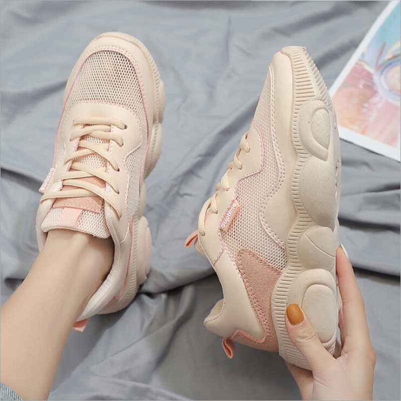 High-quality Pink Woman Casual Shoes 2019 Spring Female Fashion Sneakers Male Walking Shoe White Zapatillas Hombre