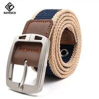 [Kaitesiczi] Для мужчин случайные холст ремень популярные высококачественные тканые кожаный ремень для джинсов военного назначения пояс