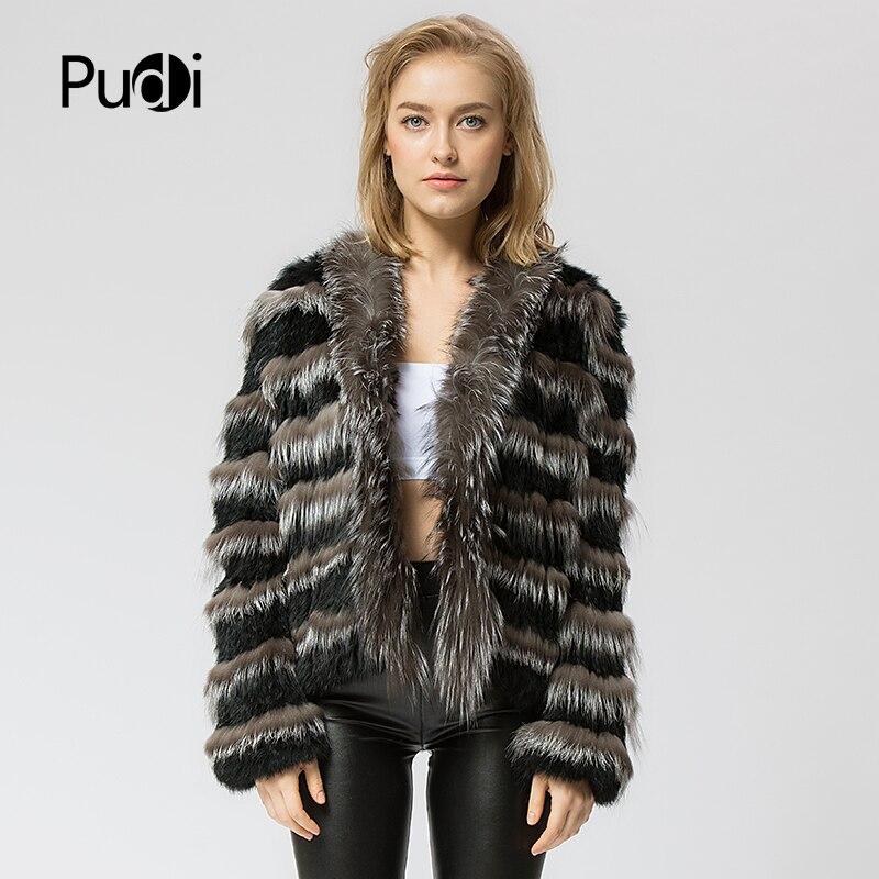 CR048 knit knitted Real rabbit silver fox fur coat jacket overcoat women s fashion winter warm
