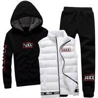 Men Set 3 Piece Brand Hoodie Warm Vest Pants Winter Male Zipper Sportswear Clothes Sweatshirt Coat Hood Tracksuit Men Sport Suit