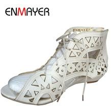 ENMAYER Big Size 34-43 Fashion Cut-outs Lace Up Sandals Open Toe Low Wedges Bohemian Summer Shoes Beach Shoes Woman White Shoes