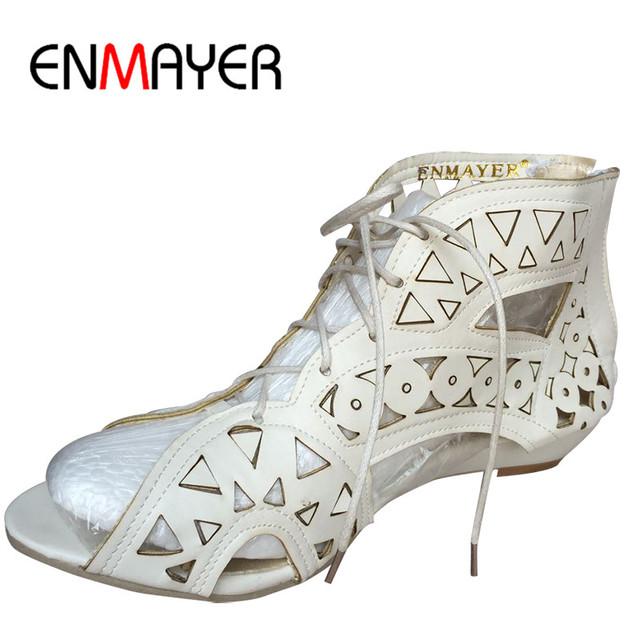 ENMAYER Big Size 34-43 Moda Cut-outs Lace Up Sandálias Abertas Toe Baixo Cunhas Sapatas do Verão Boêmio Praia Sapatos Mulher Branca sapatos