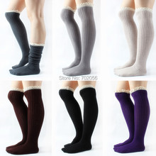 Fall winter solid Sexy Lace hose Stockings Warm thigh Boot stocking Fashion 6 colors #3691
