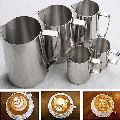 Fantastisk køkken mad klasse rustfrit stål espresso kaffe pitcher latte mælk skum kande barista håndværk 150/350/600/1000 ml