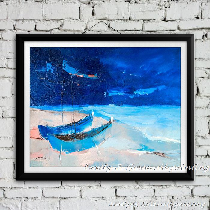 100% Handpainted Modern Abstract Night Beach Seascape Oil Painting On Canvas Hotel Living Room Home Decoration