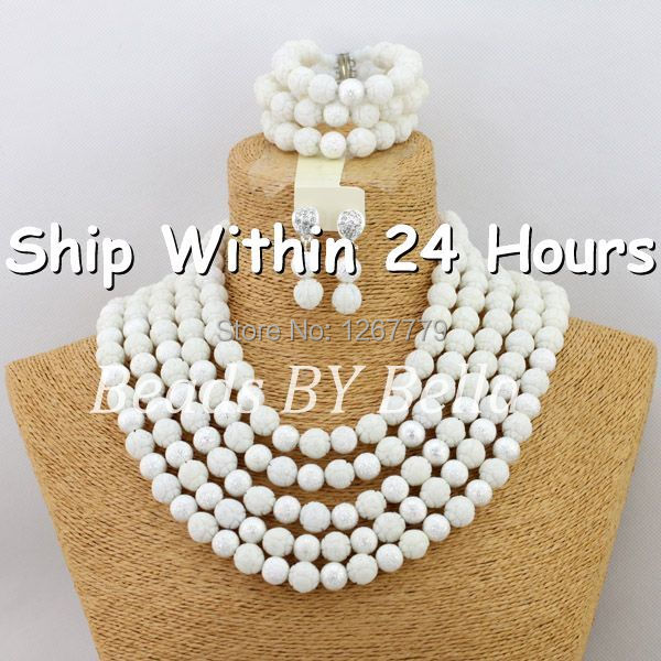 Free shipping Gorgeous White African Crystal Beads Jewelry Set Arabic Wedding Bridal Jewelry Set Silver Plated ABJ525